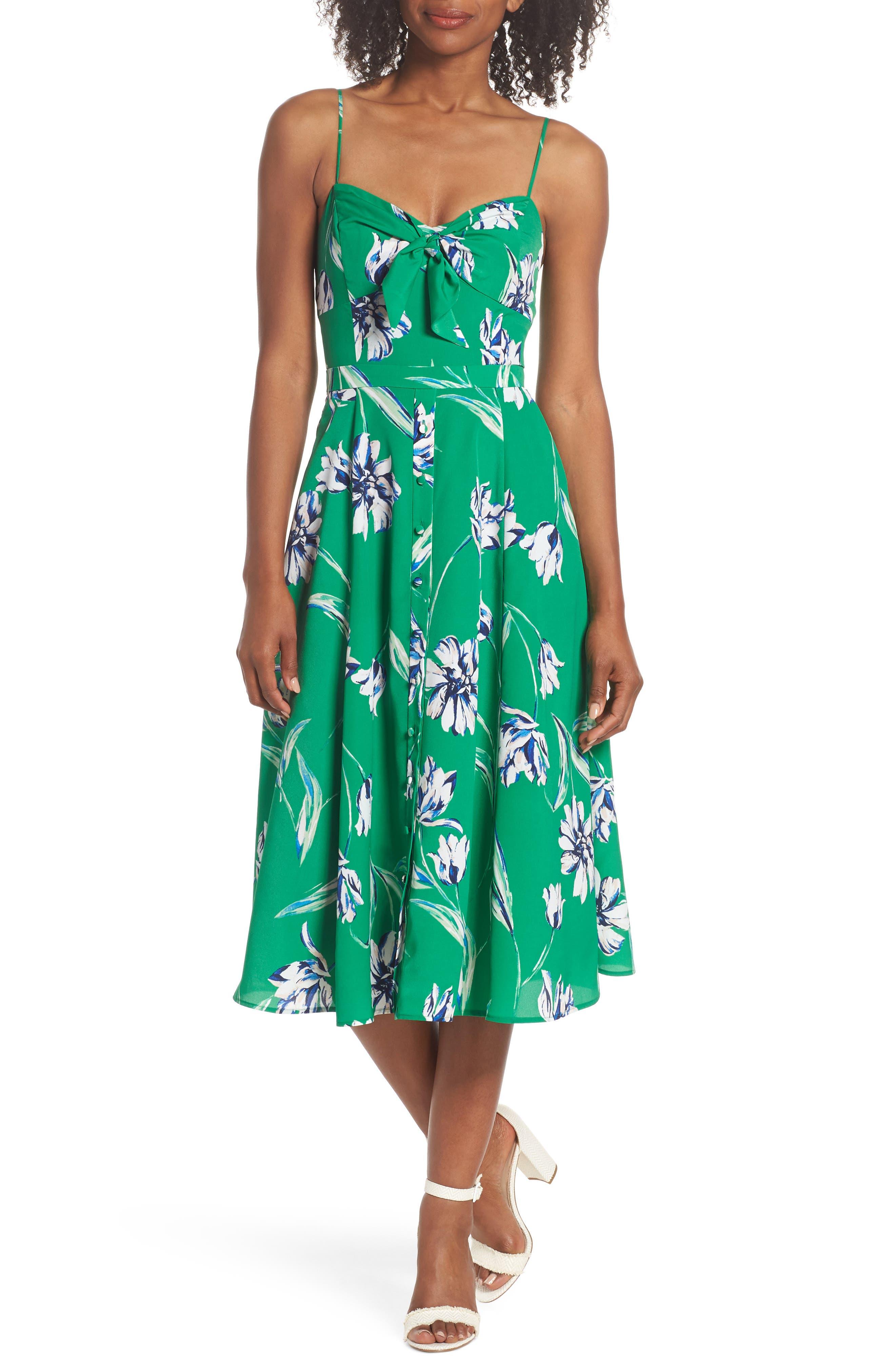 Eliza J Tie Front Midi Dress, Green