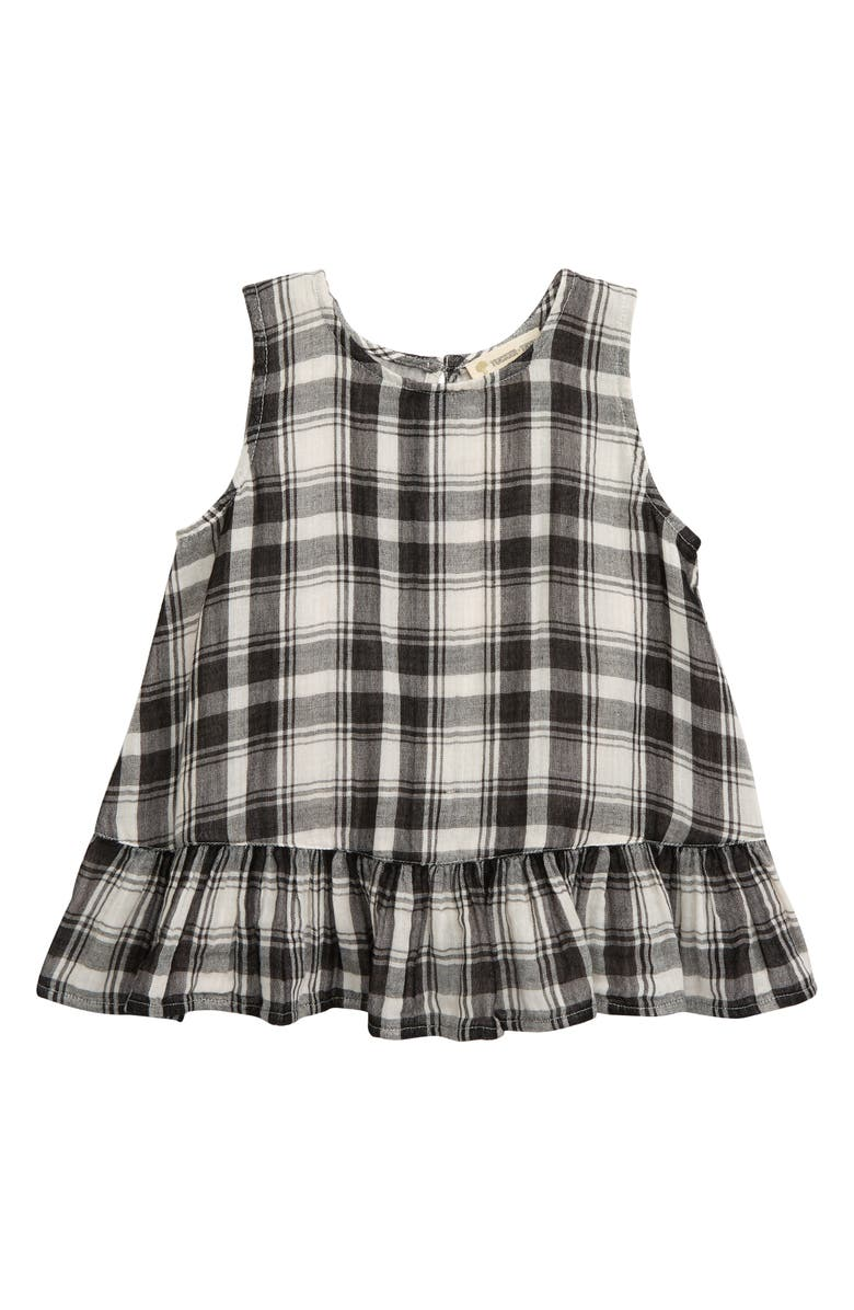 TUCKER + TATE Flutter Back Plaid Tank, Main, color, BLACK- IVORY PLAID