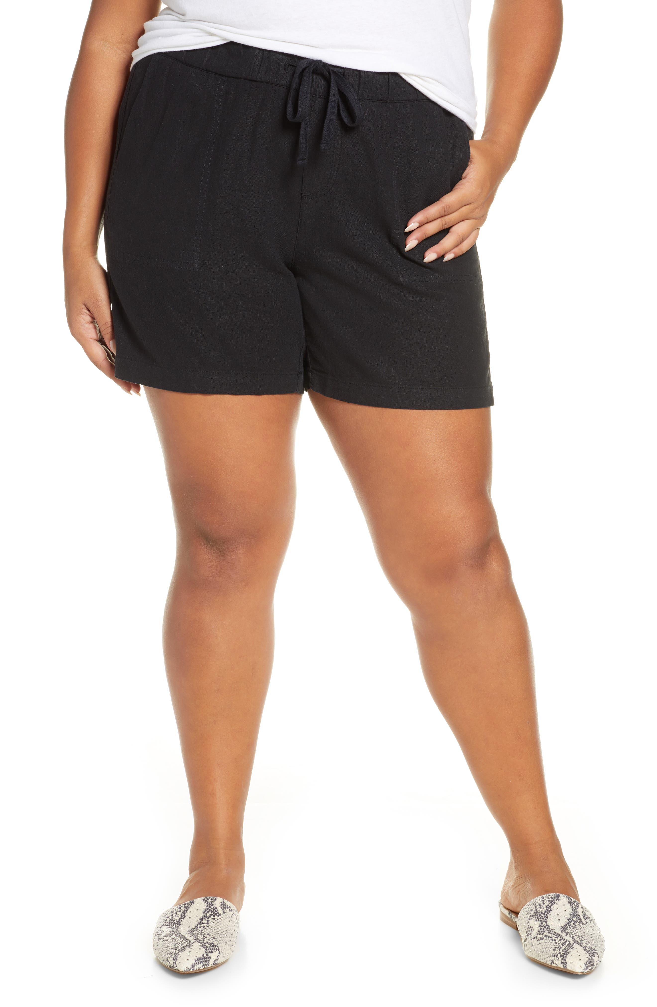 Plus Women's Caslon Drawstring Linen Blend Shorts
