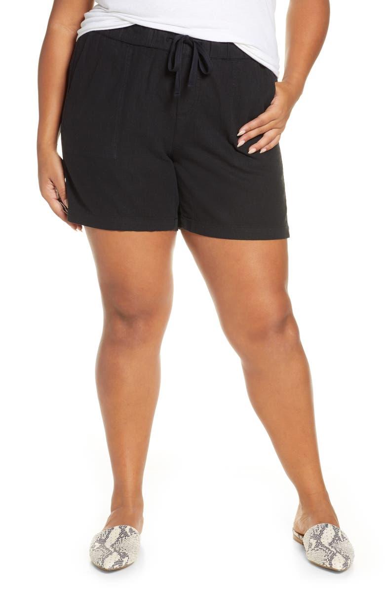CASLON<SUP>®</SUP> Drawstring Linen Blend Shorts, Main, color, 001