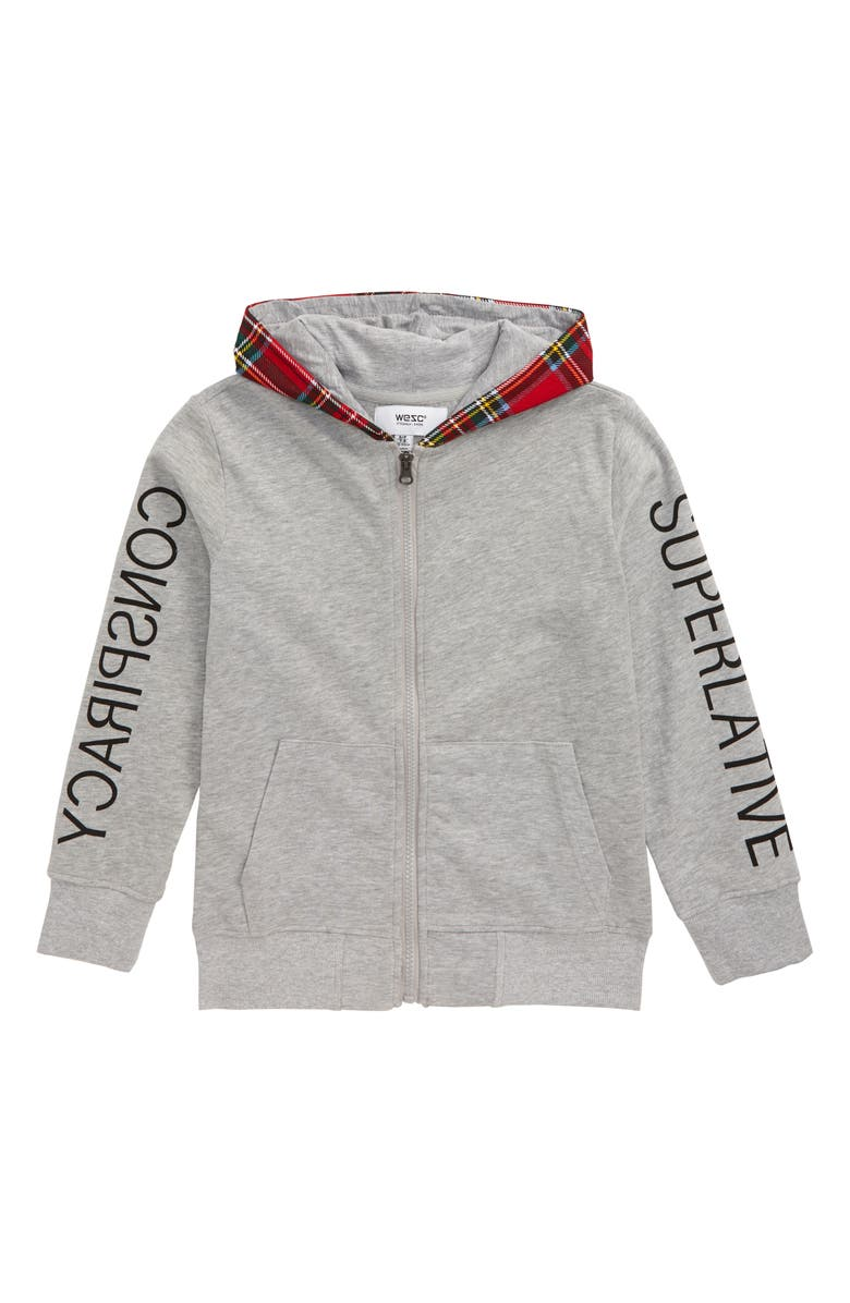 WESC Front Zip Hoodie, Main, color, HEATHER GREY