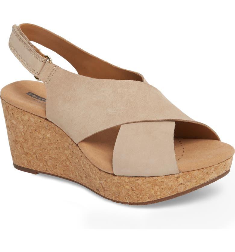 CLARKS<SUP>®</SUP> Annadel Eirwyn Wedge Sandal, Main, color, SAND NUBUCK