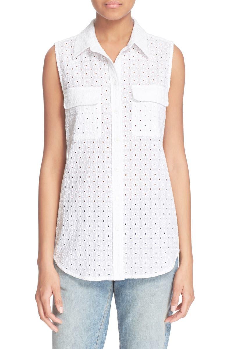 EQUIPMENT 'Slim Signature' Sleeveless Cotton Eyelet Shirt, Main, color, 100