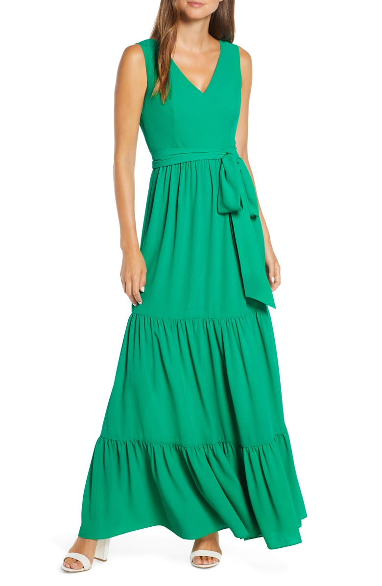LILLY PULITZER<SUP>®</SUP> Maurine Tiered Maxi Dress, Main, color, EMERALD ISLE