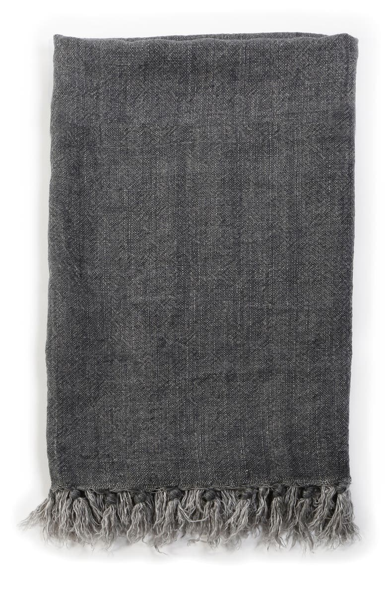 POM POM AT HOME Montauk Blanket, Main, color, CHARCOAL