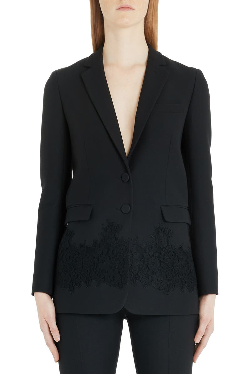 VALENTINO Lace Inset Wool & Silk Blazer, Main, color, 001