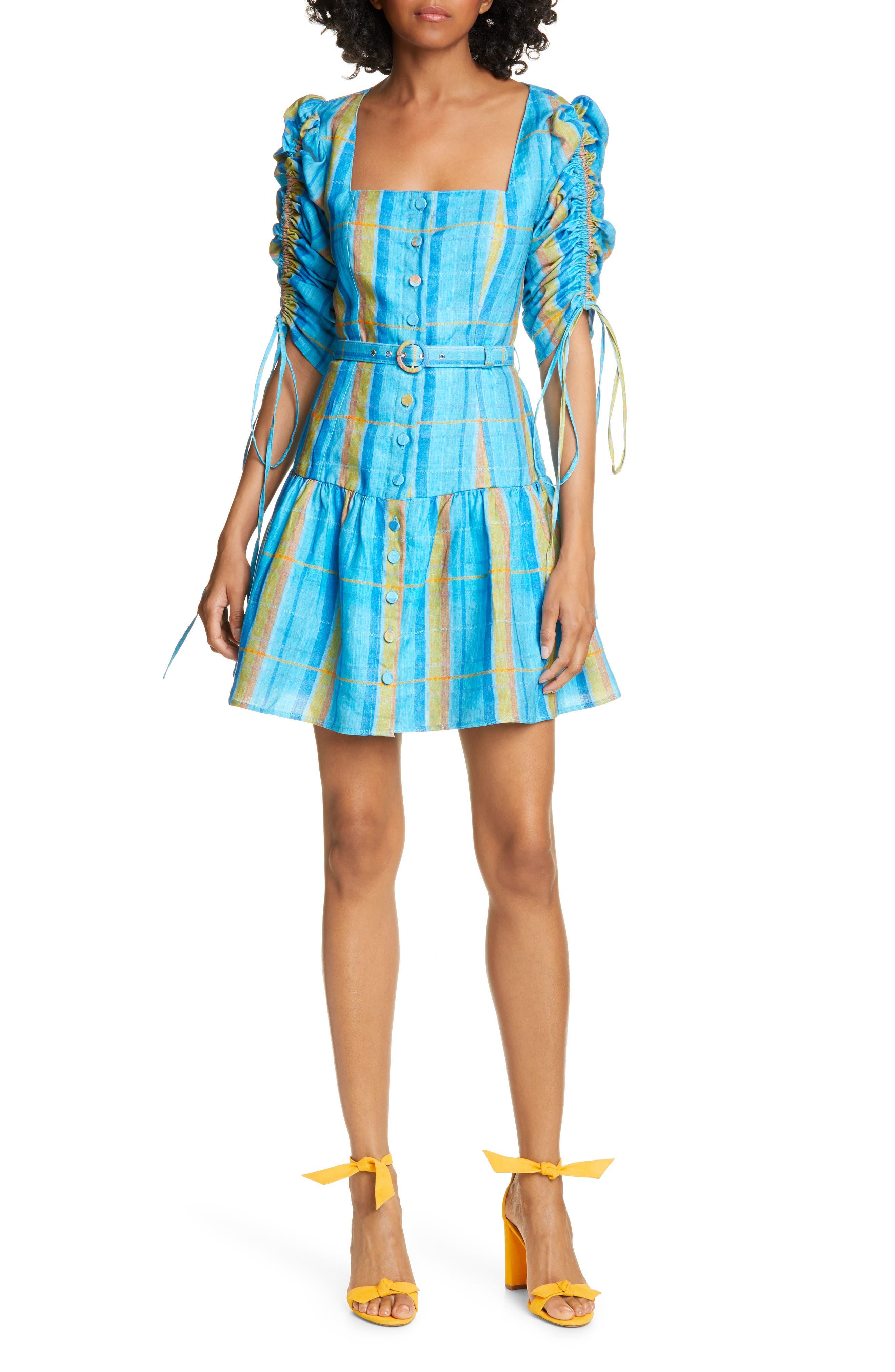 Nicholas Ruched Sleeve Minidress, Blue