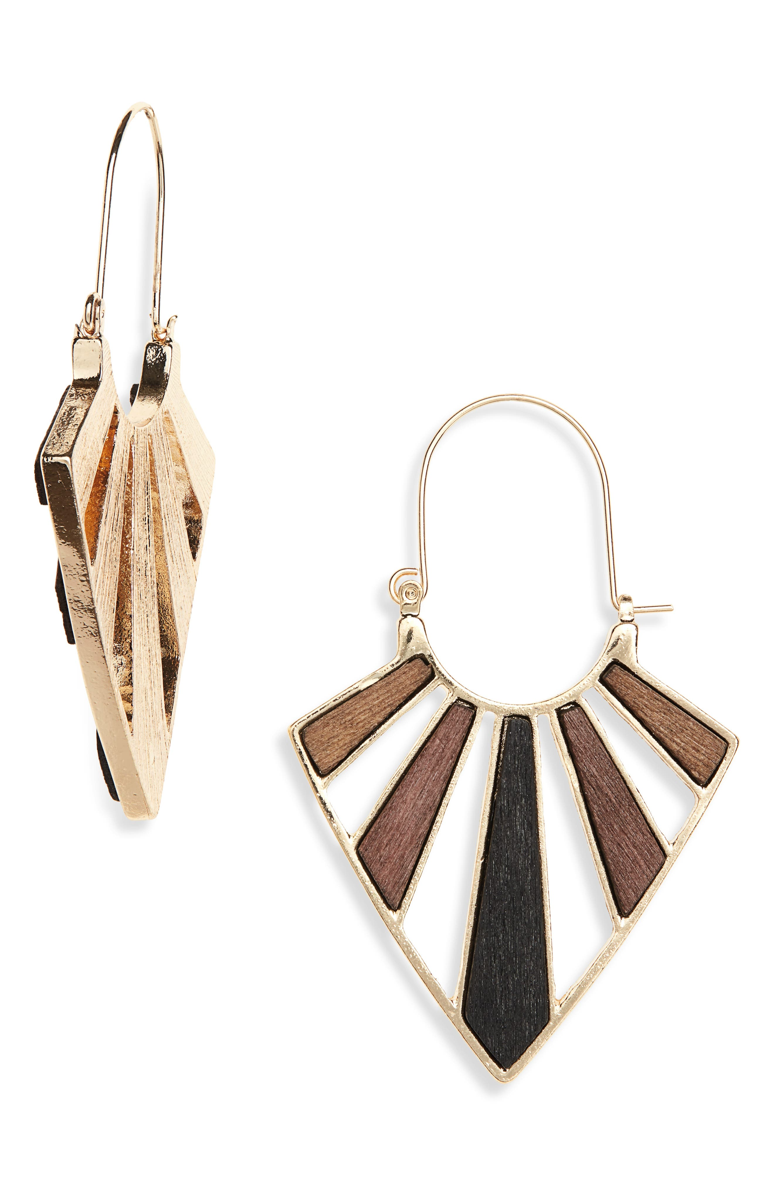 60s -70s Jewelry – Necklaces, Earrings, Rings, Bracelets Womens Bp. Wood  Metal Drop Earrings $29.00 AT vintagedancer.com