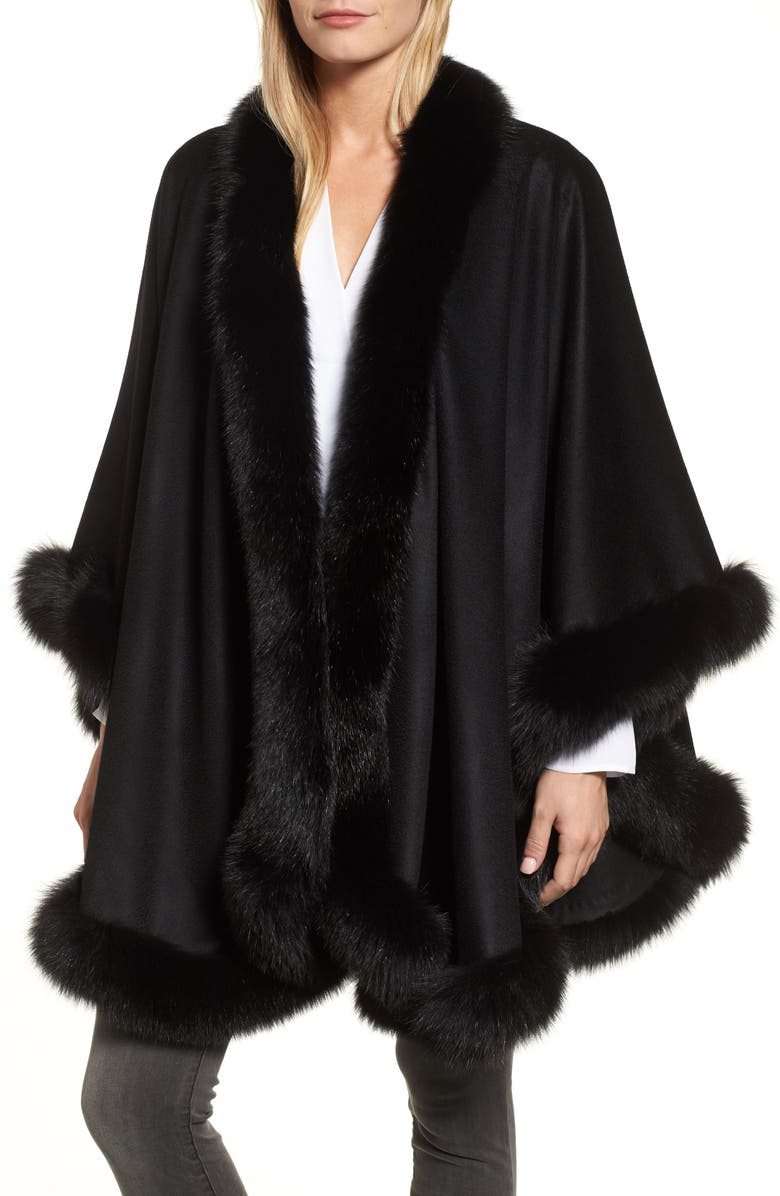 SOFIA CASHMERE Genuine Fox Fur Trim Cape, Main, color, 001
