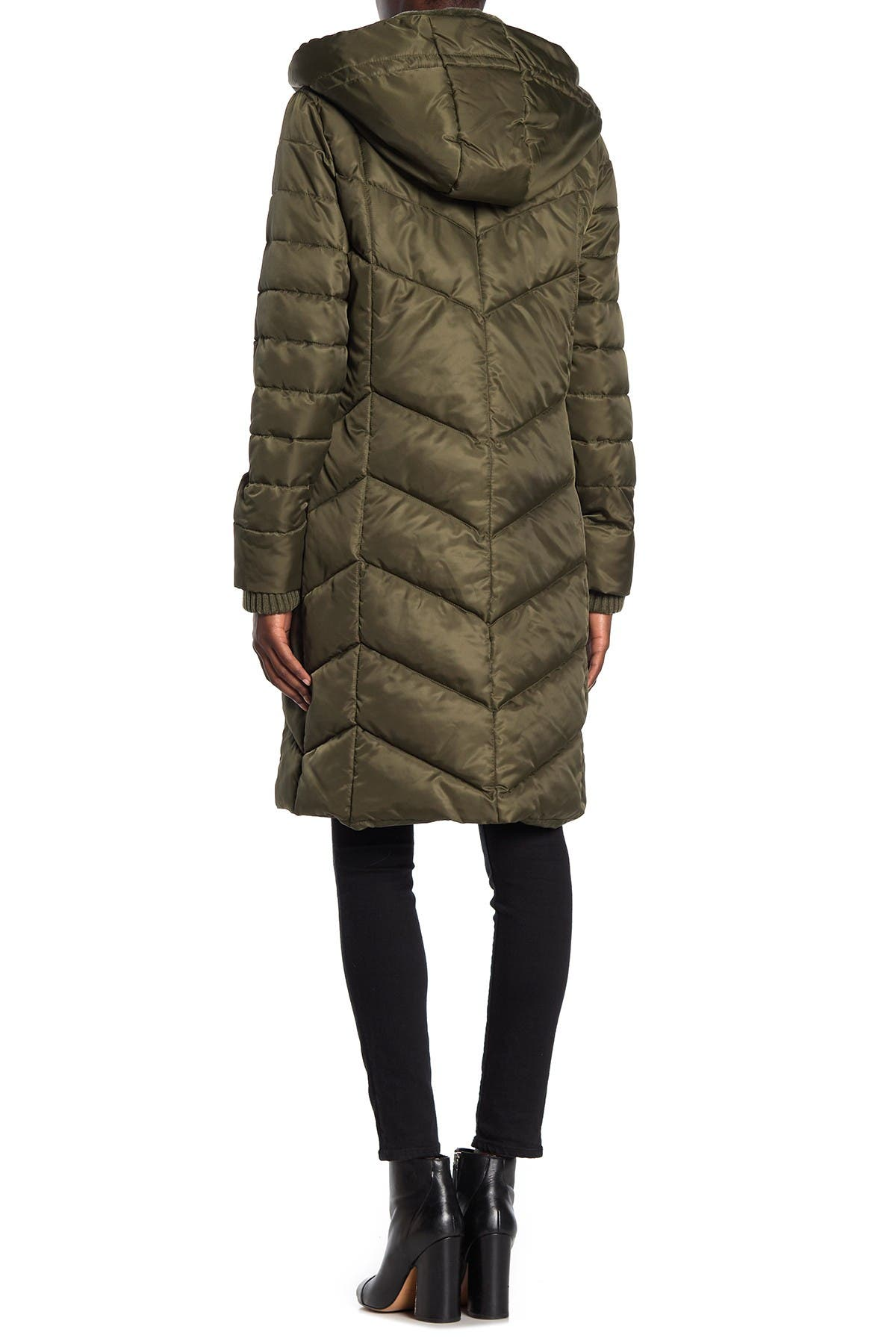 Kensie Quilted Faux Fur Lined Hooded Coat