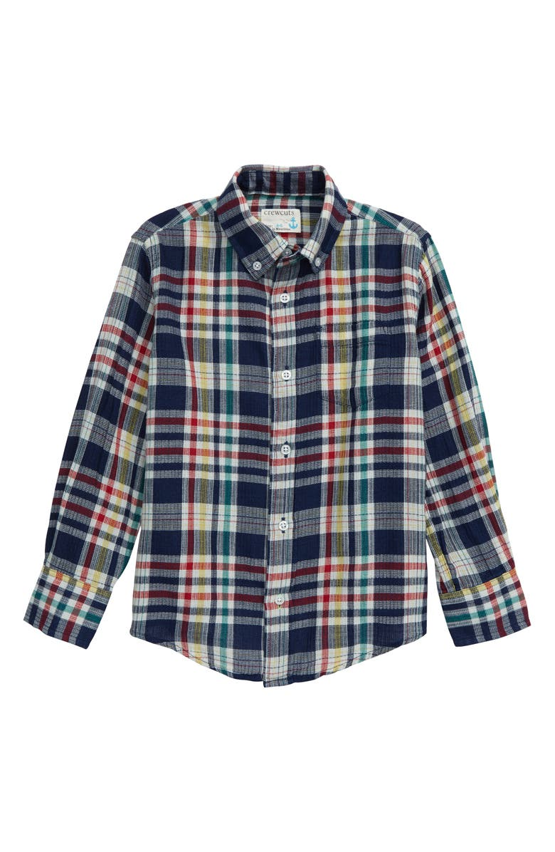 CREWCUTS BY J.CREW Primary Plaid Button-Down Shirt, Main, color, INDIGO MULTI