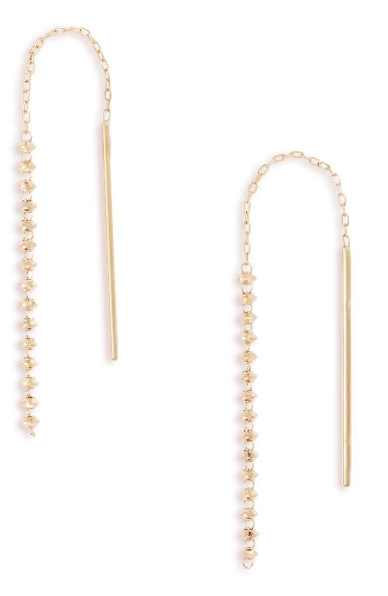 POPPY FINCH Shimmer 18K Gold Short Threader Earrings, Main, color, YELLOW GOLD