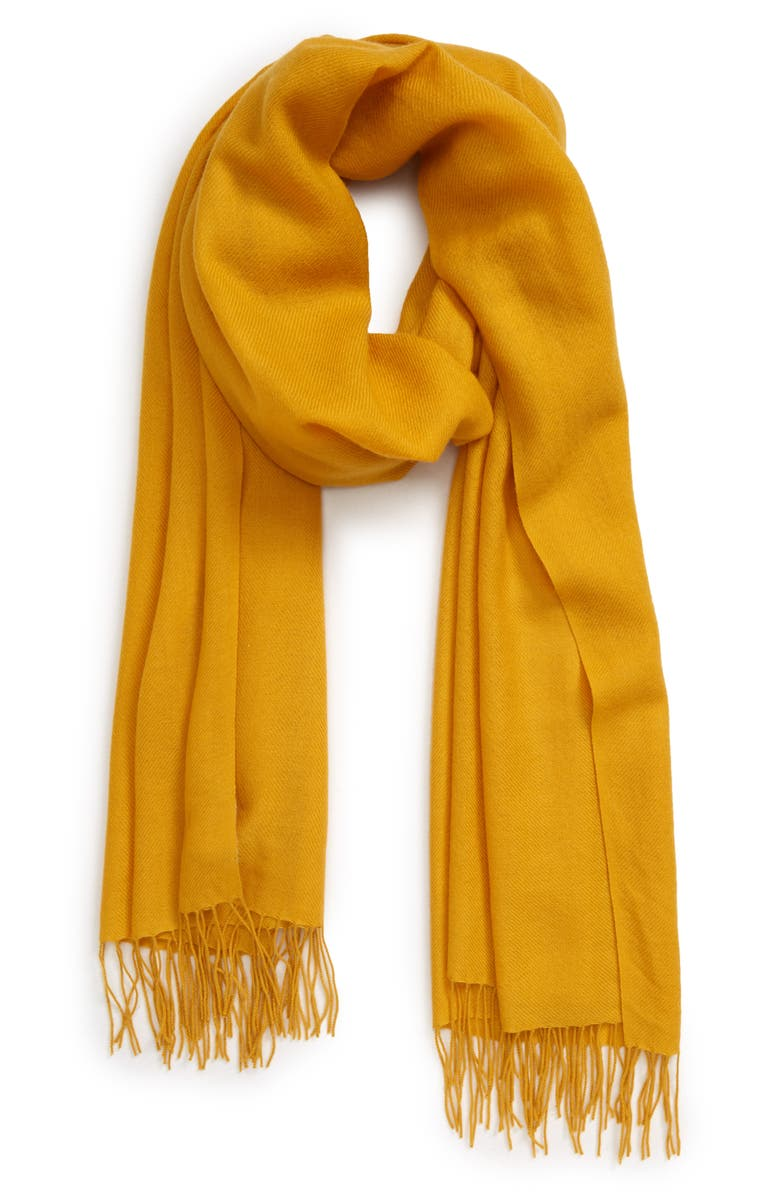 NORDSTROM Tissue Weight Wool & Cashmere Scarf, Main, color, YELLOW TREASURE