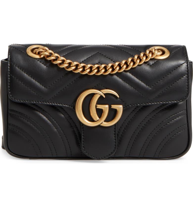 853a6592 Mini GG Marmont 2.0 Matelassé Leather Shoulder Bag, Main, color, 001