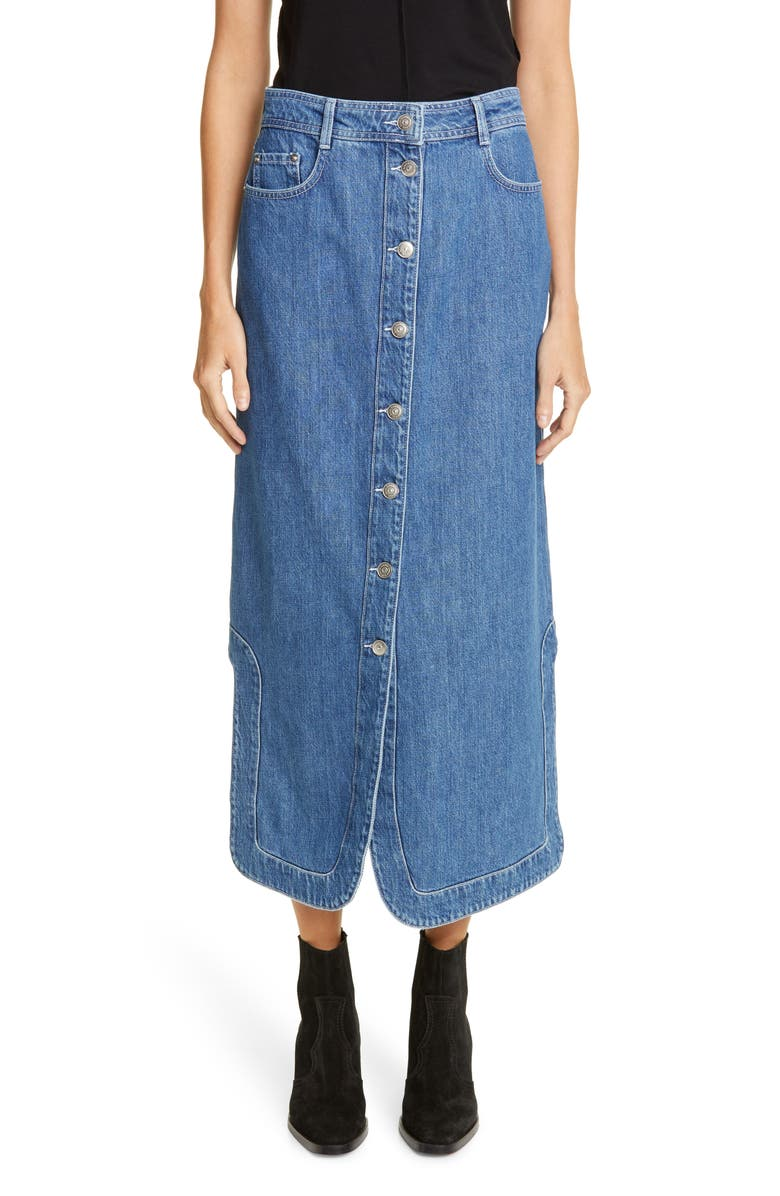 GANNI Denim Midi Skirt, Main, color, DENIM