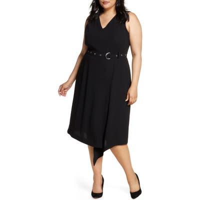 Plus Size Vince Camuto Belted Asymmetrical Hem Sleeveless Matte Crepe Dress, Black