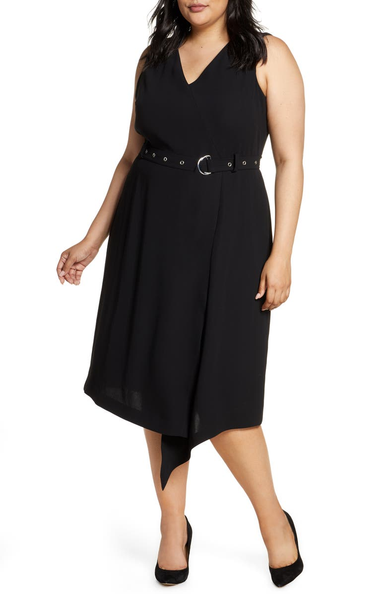 VINCE CAMUTO Belted Asymmetrical Hem Sleeveless Matte Crepe Dress, Main, color, 001