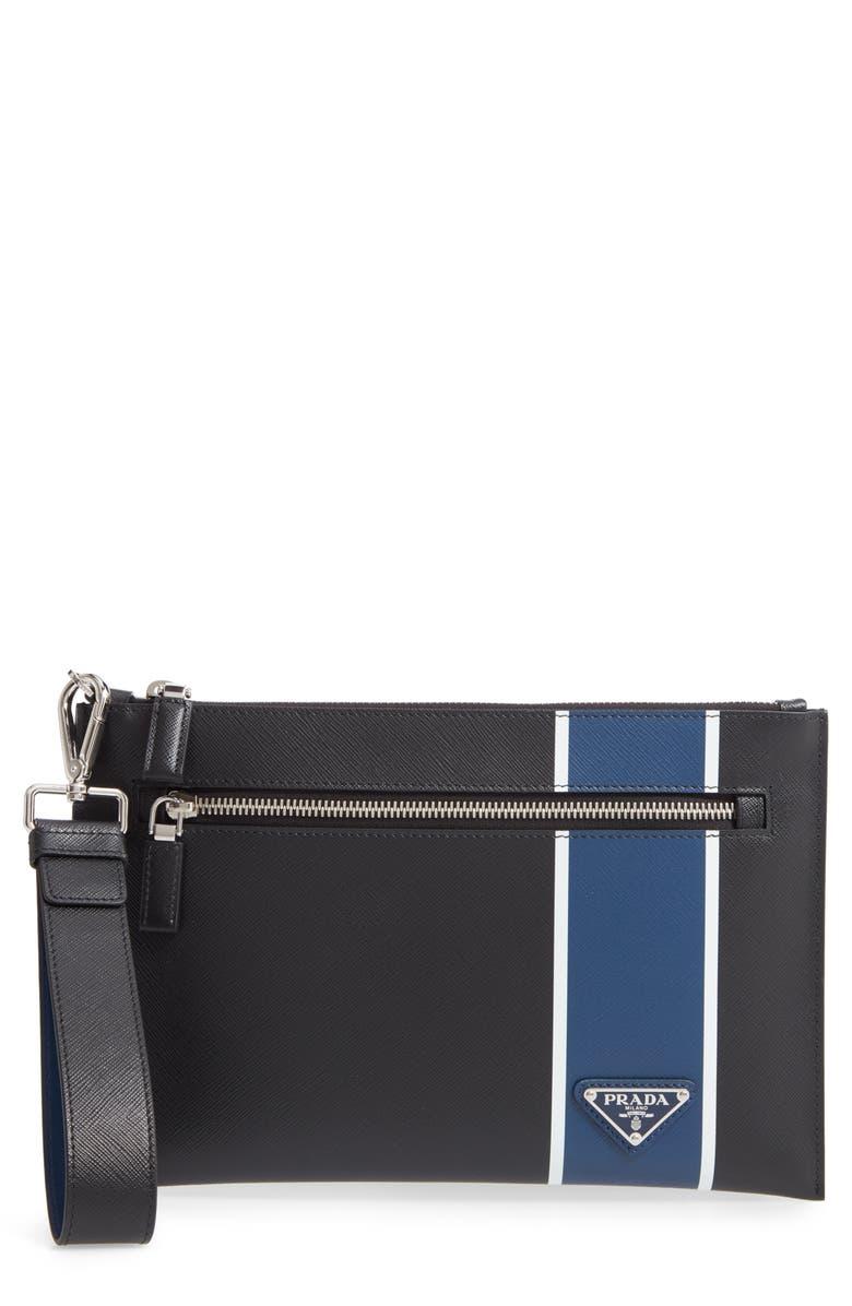 PRADA Colorblock Saffiano Leather Wrist Bag, Main, color, BLACK