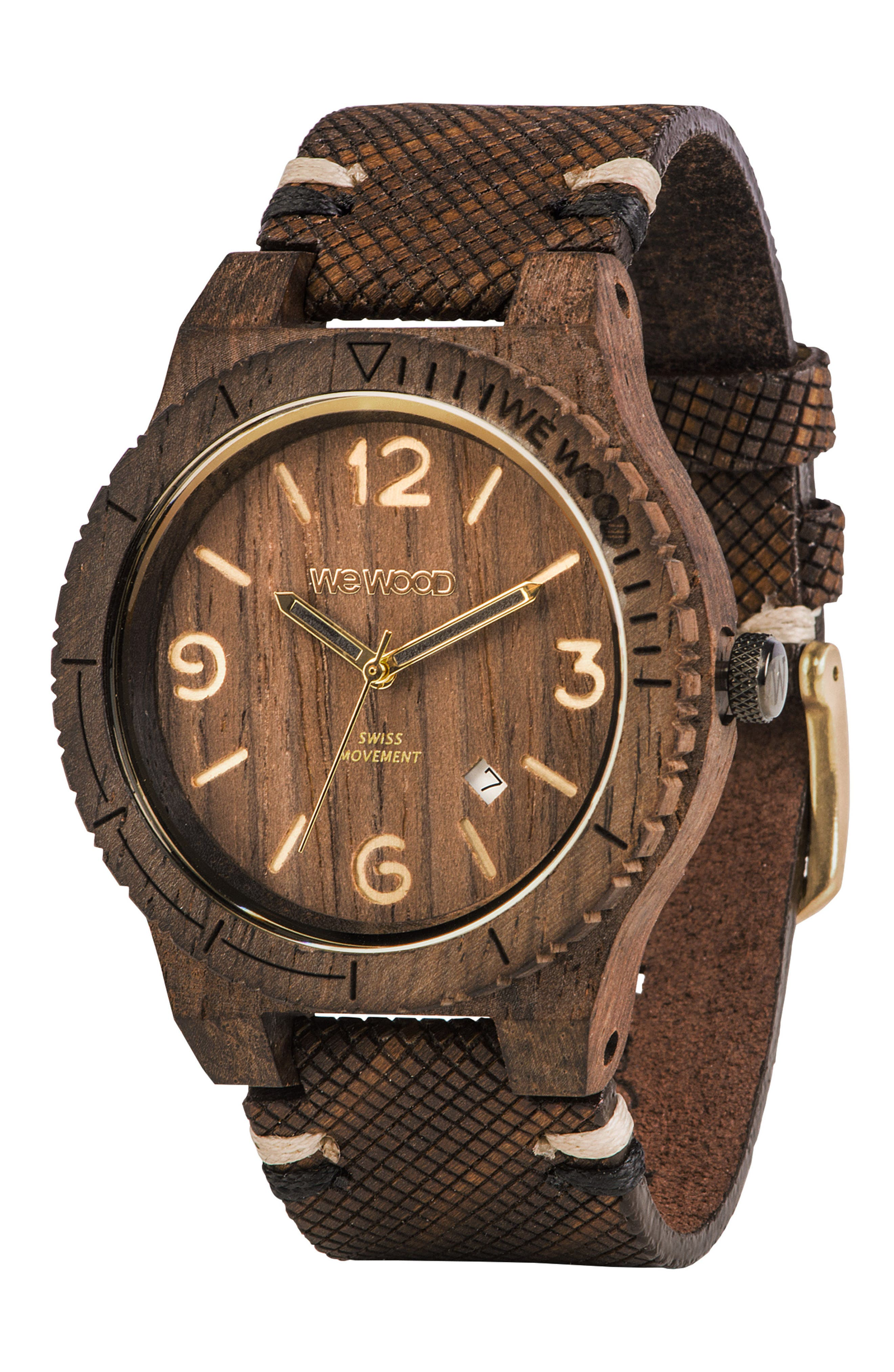 ,                             Alpha Wood Leather Strap Watch, 46mm,                             Alternate thumbnail 6, color,                             201