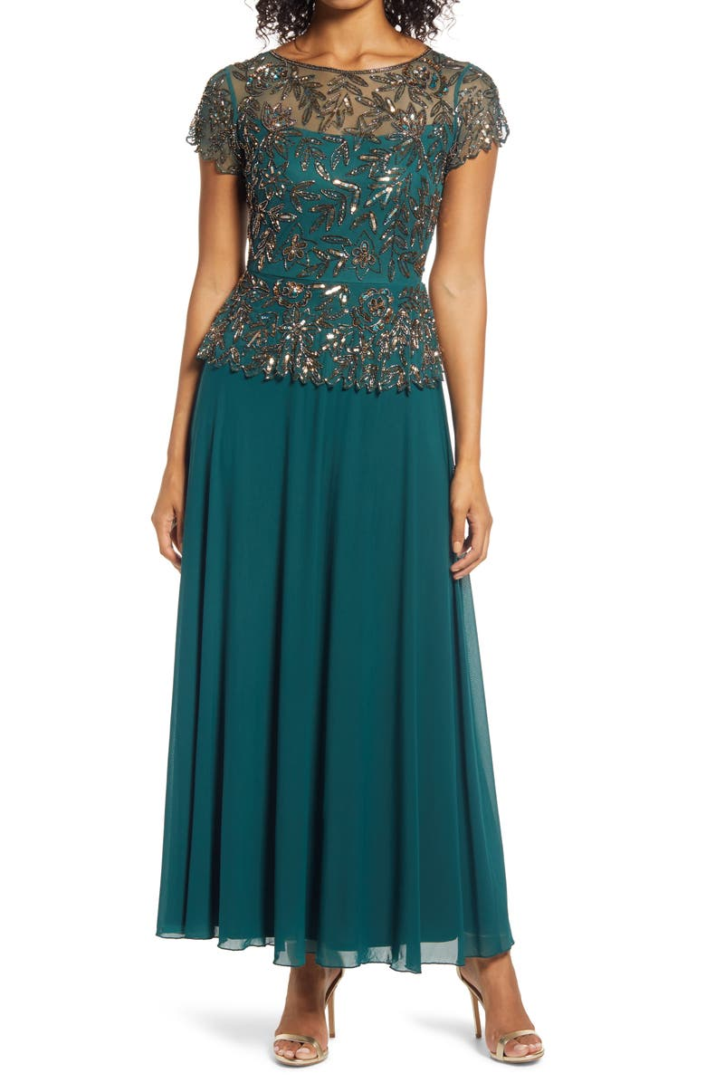 PISARRO NIGHTS Beaded Mesh Mock Two-Piece Gown, Main, color, GREEN