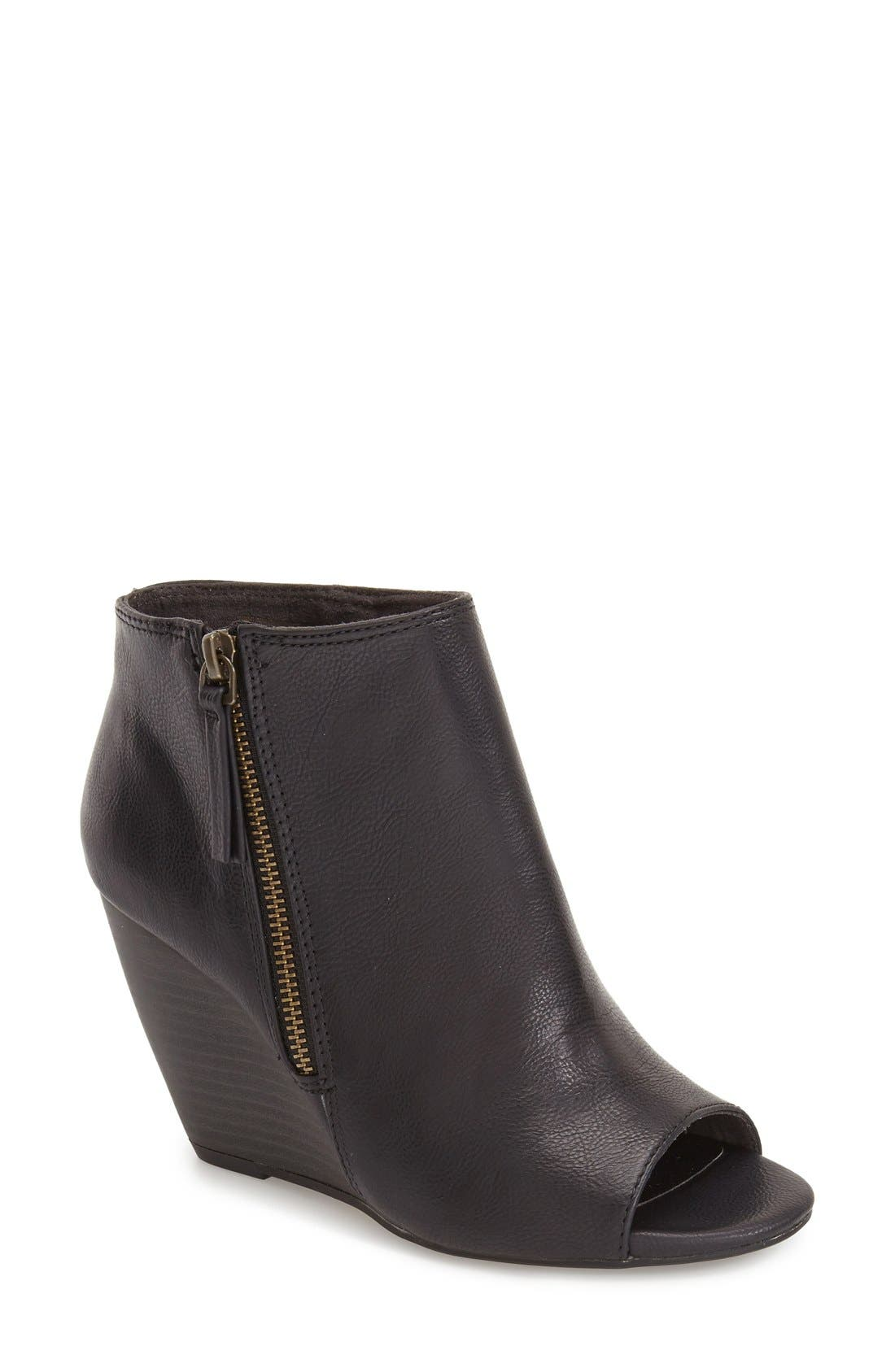 'Rebellion' Peep Toe Wedge Bootie, Main, color, 001