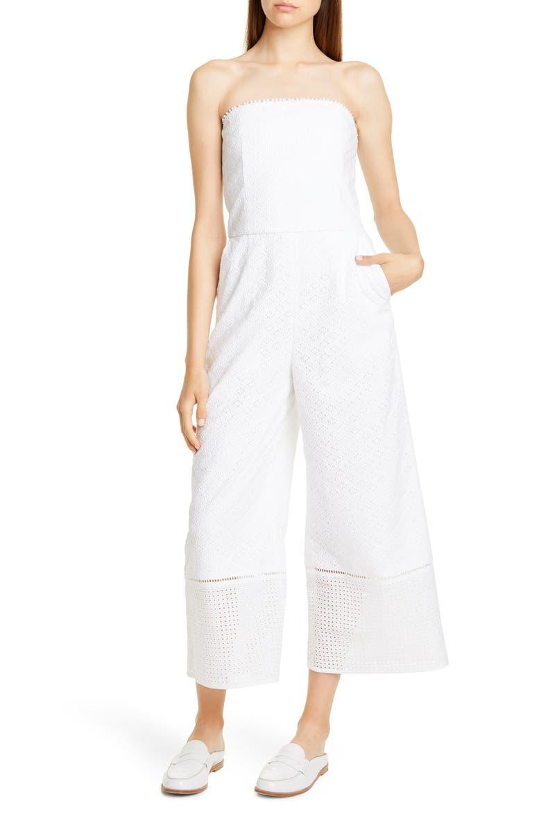 CLUB MONACO Vavette Strapless Cropped Jumpsuit, Main, color, WHITE