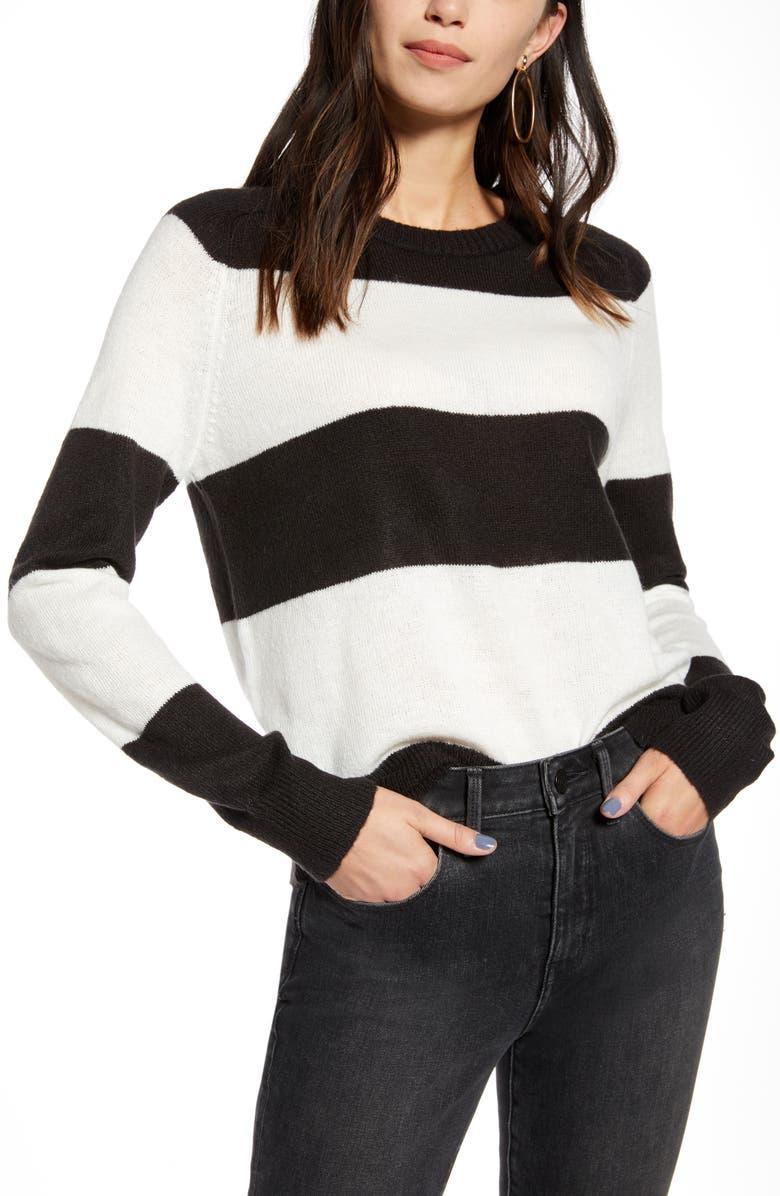 TREASURE & BOND Wide Stripe Crewneck Sweater, Main, color, BLACK- WHITE WIDE CREW STRIPE