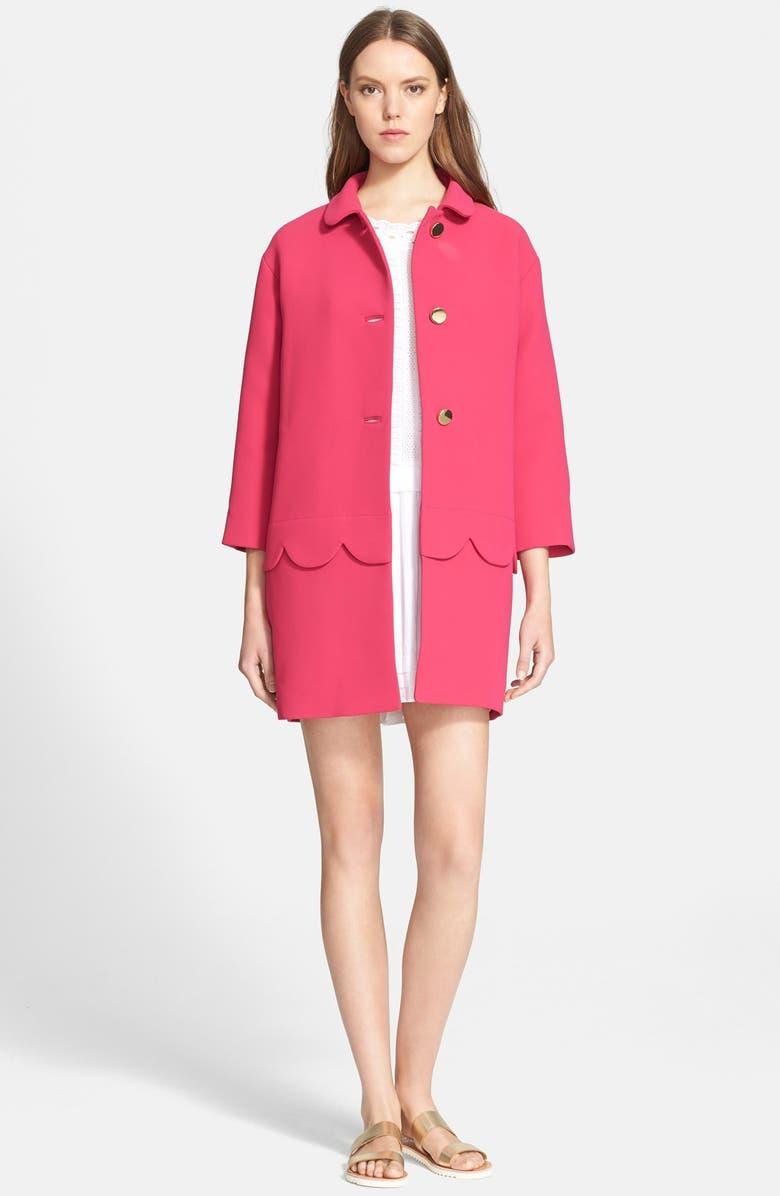 KATE SPADE NEW YORK 'talia' scallop coat, Main, color, 694