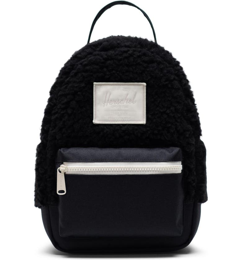 HERSCHEL SUPPLY CO. Mini Nova Fleece & Canvas Backpack, Main, color, BLACK