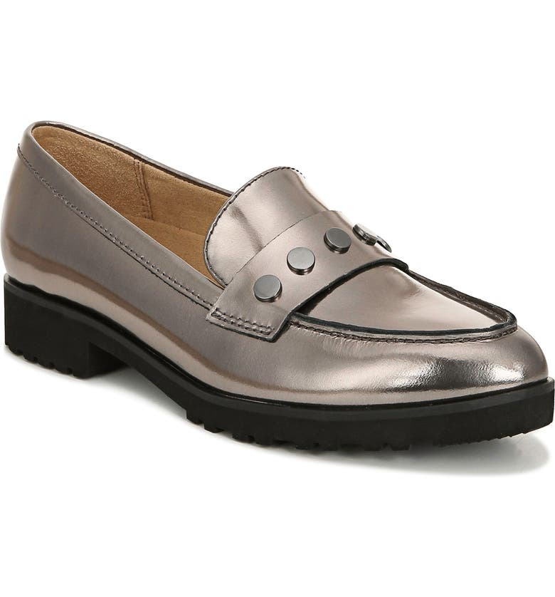 NATURALIZER Gaia Loafer, Main, color, PEWTER METALLIC LEATHER