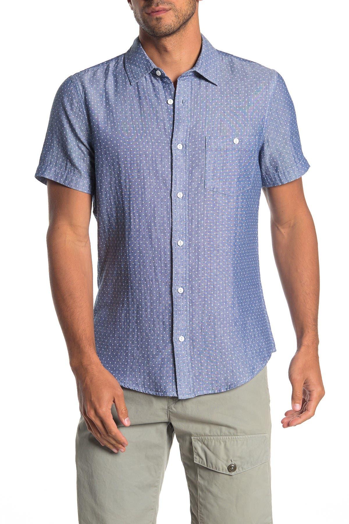 Image of WALLIN & BROS Dobby Short Sleeve Slim Fit Shirt