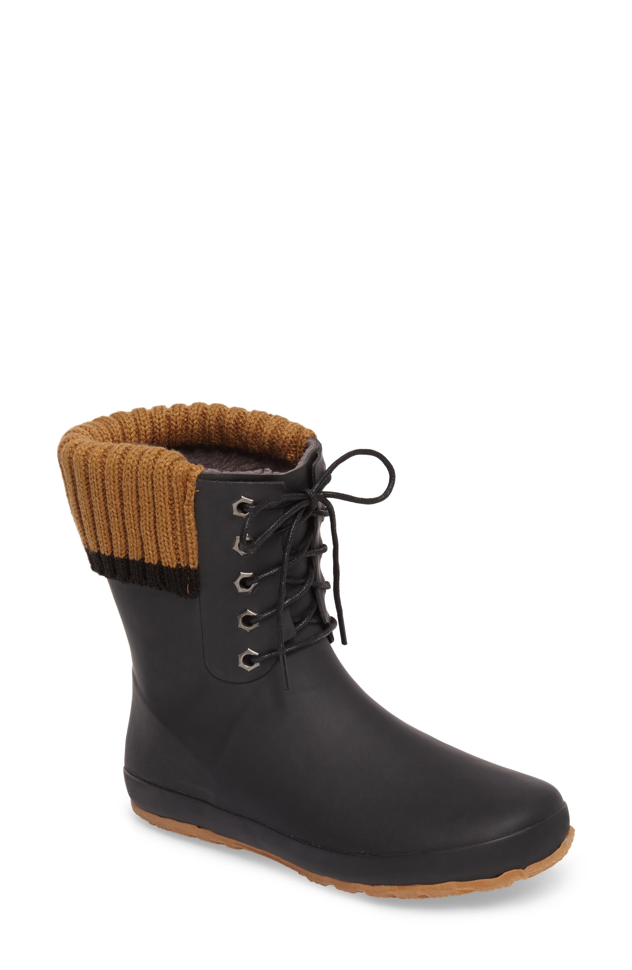 Dav Lace-Up Water Resistant Rain Boot, Black