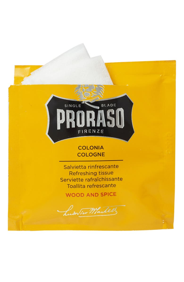 PRORASO Men's Grooming Wood and Spice Refreshing Tissues, Main, color, NO COLOR