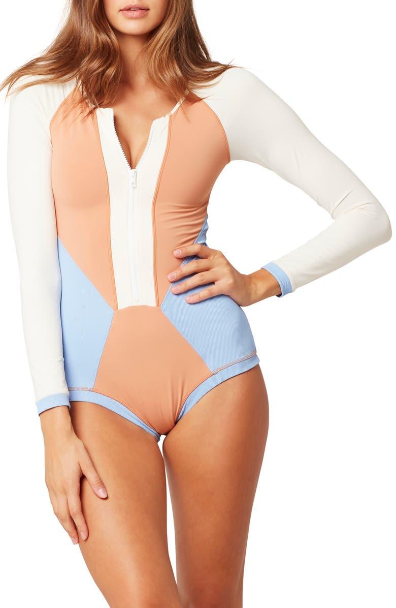 L SPACE Mod Front Zip Long Sleeve One-Piece Swimsuit, Main, color, 250