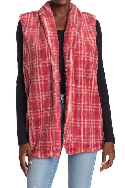Image of Bobeau Faux Fur Plaid Vest