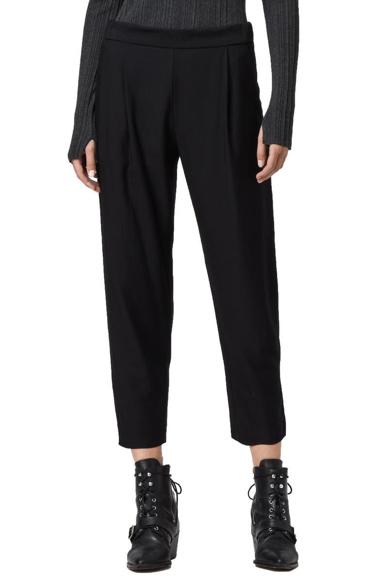 ALLSAINTS Aleida Crop Trousers, Main, color, BLACK