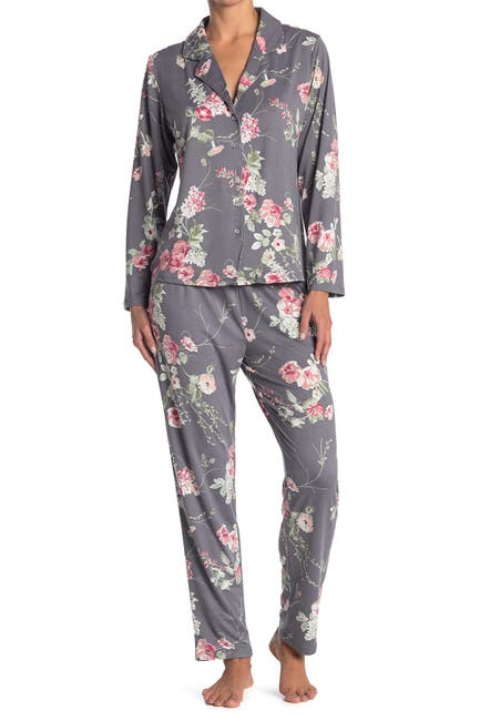 Image of Flora Nikrooz Sleepwear Patricia Floral Long Sleeve Shirt & Pants 2-Piece Pajama Set