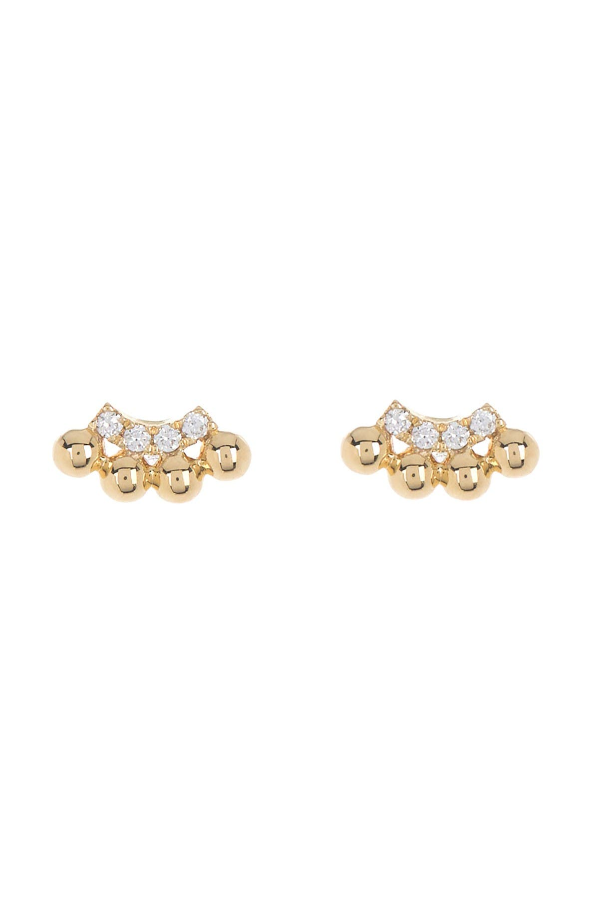 Image of Bony Levy 18K Yellow Gold Petite Bead & Diamond Curve Earrings