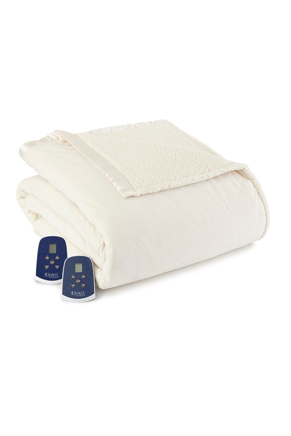 Image of Shavel Micro Flannel Reverse to Faux Shearling Electric Heated King Blanket - Ivory