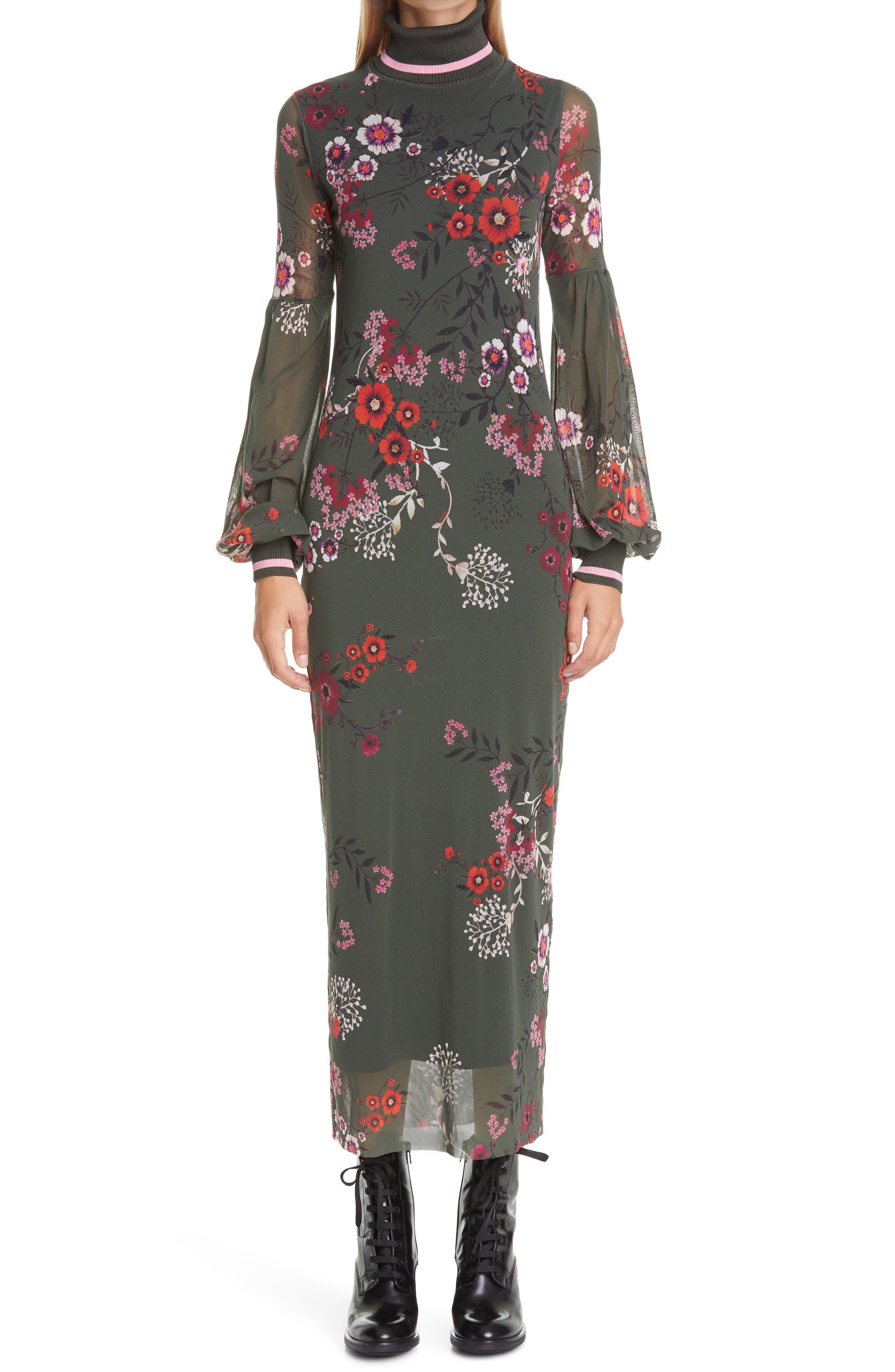 Botanical Print Long Sleeve Turtleneck Dress