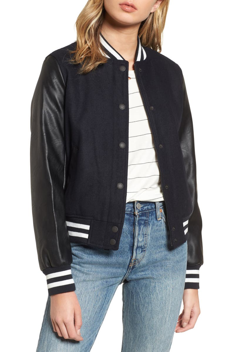 LEVI'S<SUP>®</SUP> LEVIS<sup>®</sup> Mixed Media Varsity Bomber Jacket, Main, color, 410