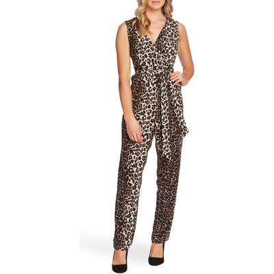 Vince Camuto Elegant Stripe Leopard Jumpsuit, Black