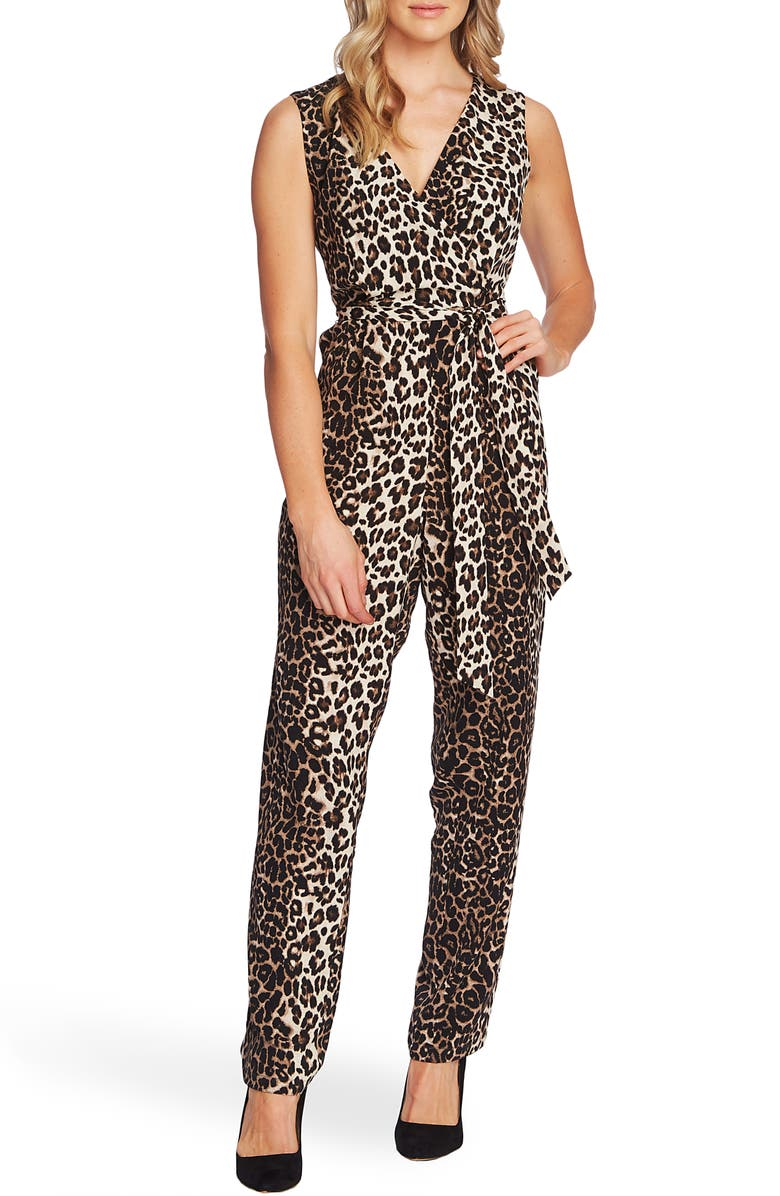 Vince Camuto Elegant Stripe Leopard Jumpsuit