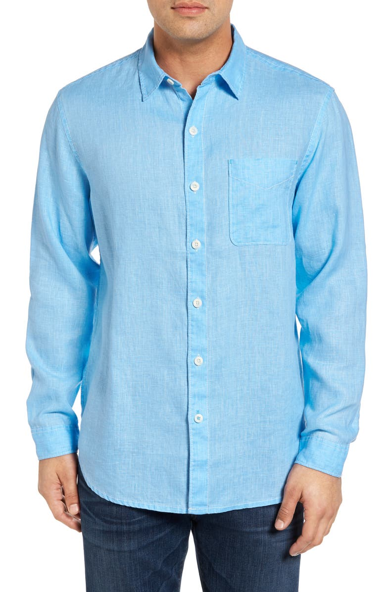 TOMMY BAHAMA Sea Glass Breezer Classic Fit Button-Up Linen Shirt, Main, color, BLUE YONDER