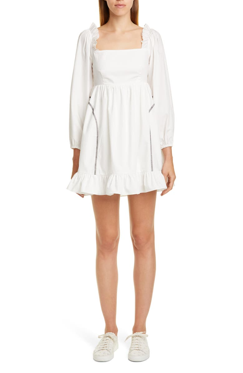 SANDY LIANG Push Contrast Stitch Long Sleeve Minidress, Main, color, WHITE