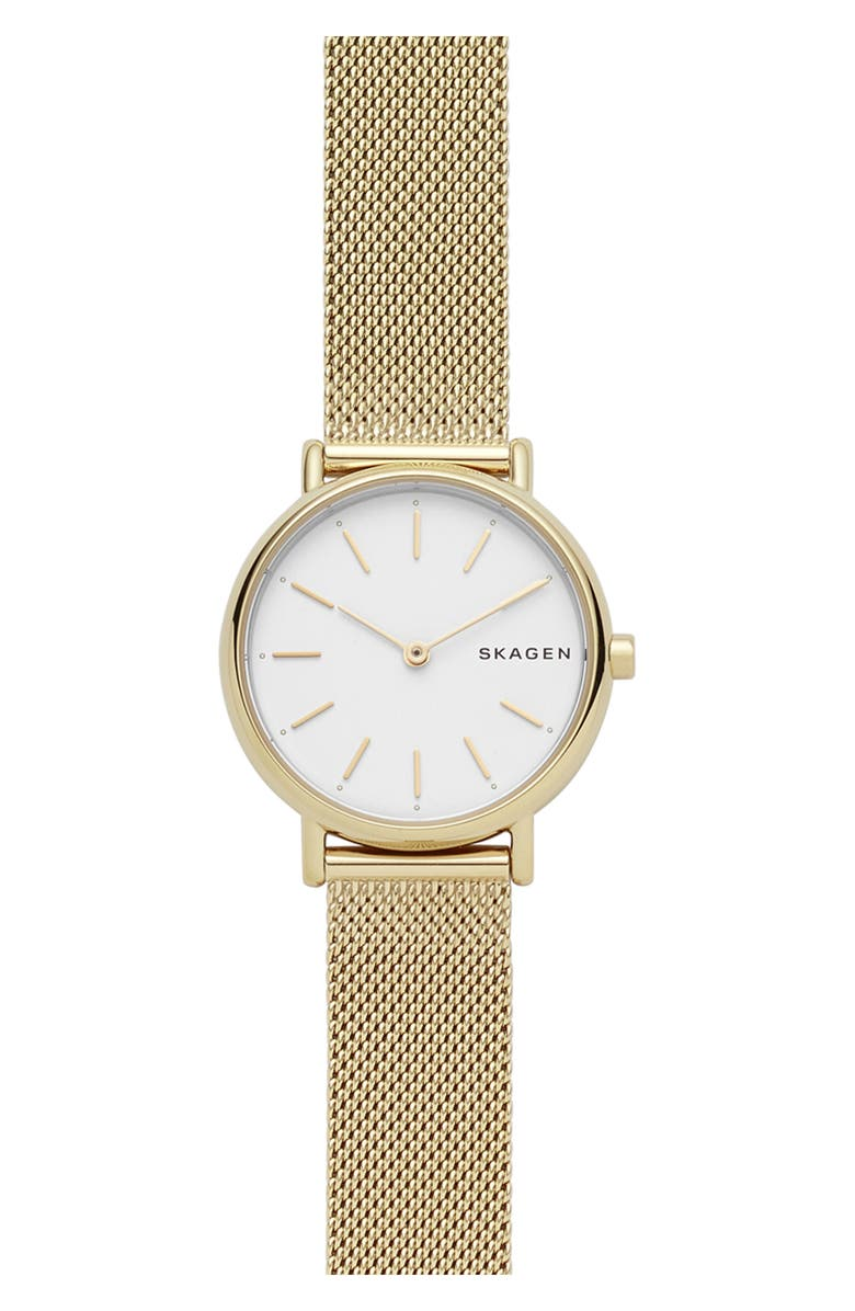 SKAGEN Signatur Slim Mesh Strap Watch, 30mm, Main, color, GOLD/ WHITE/ GOLD