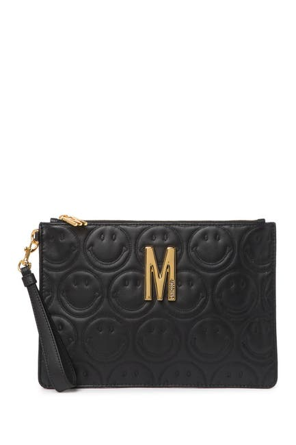 Image of MOSCHINO Logo Smiley Leather Wristlet Clutch