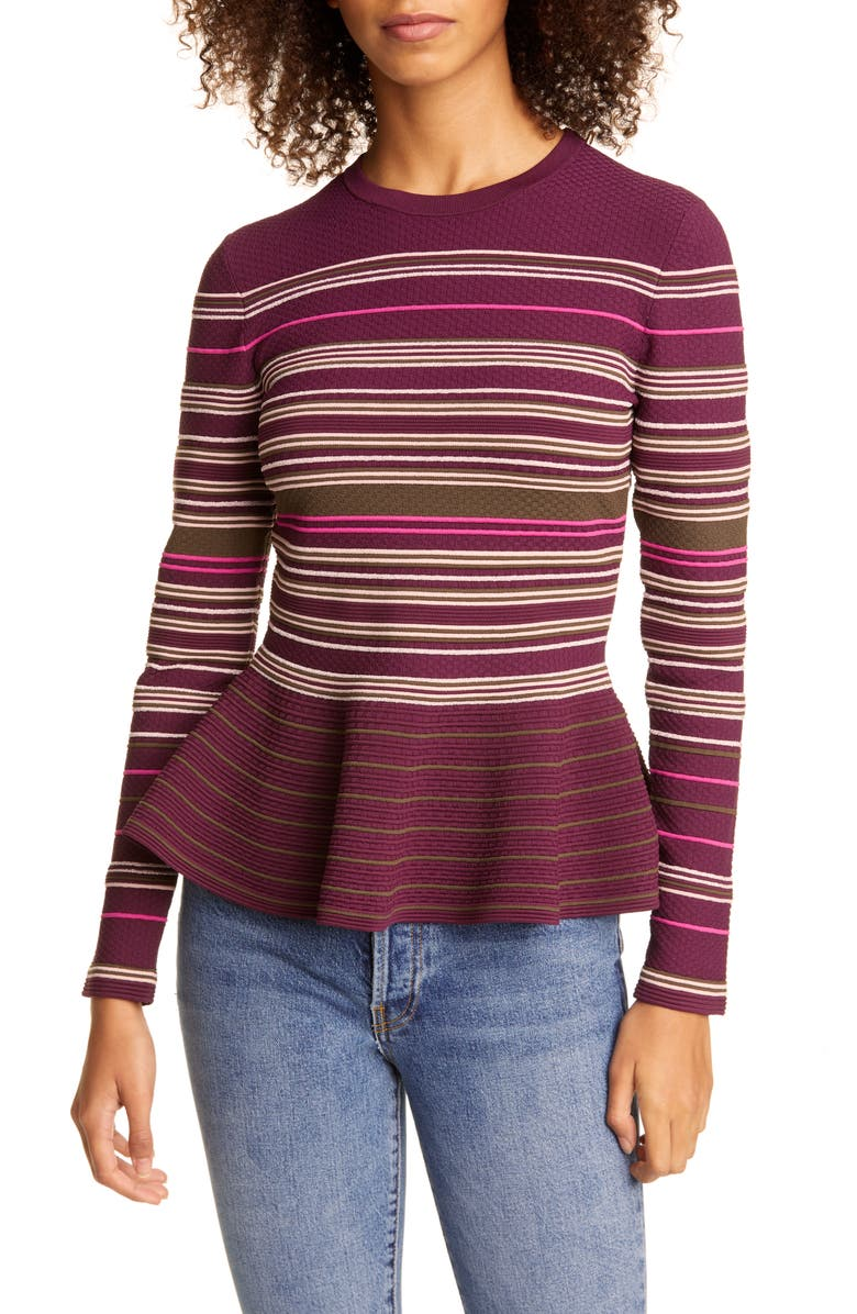 TED BAKER LONDON Leytina Stripe Peplum Sweater, Main, color, KHAKI