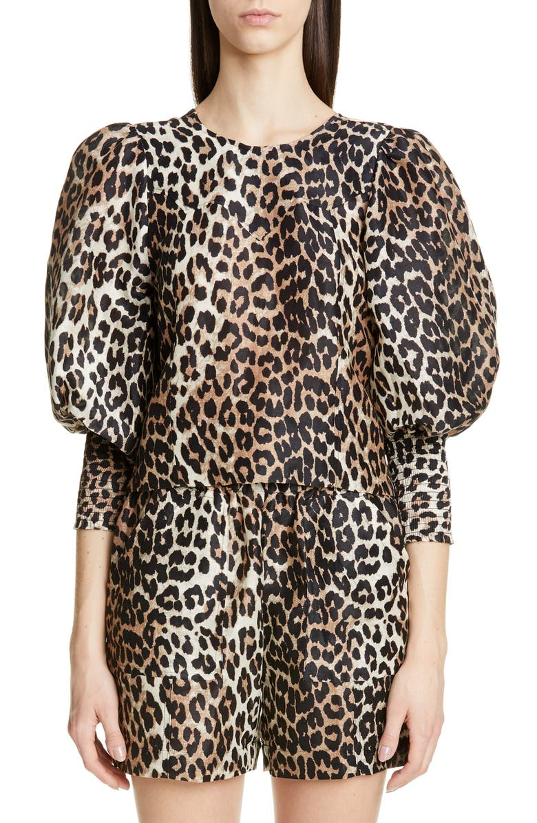 GANNI Animal Print Reversible Linen & Silk Top, Main, color, 200