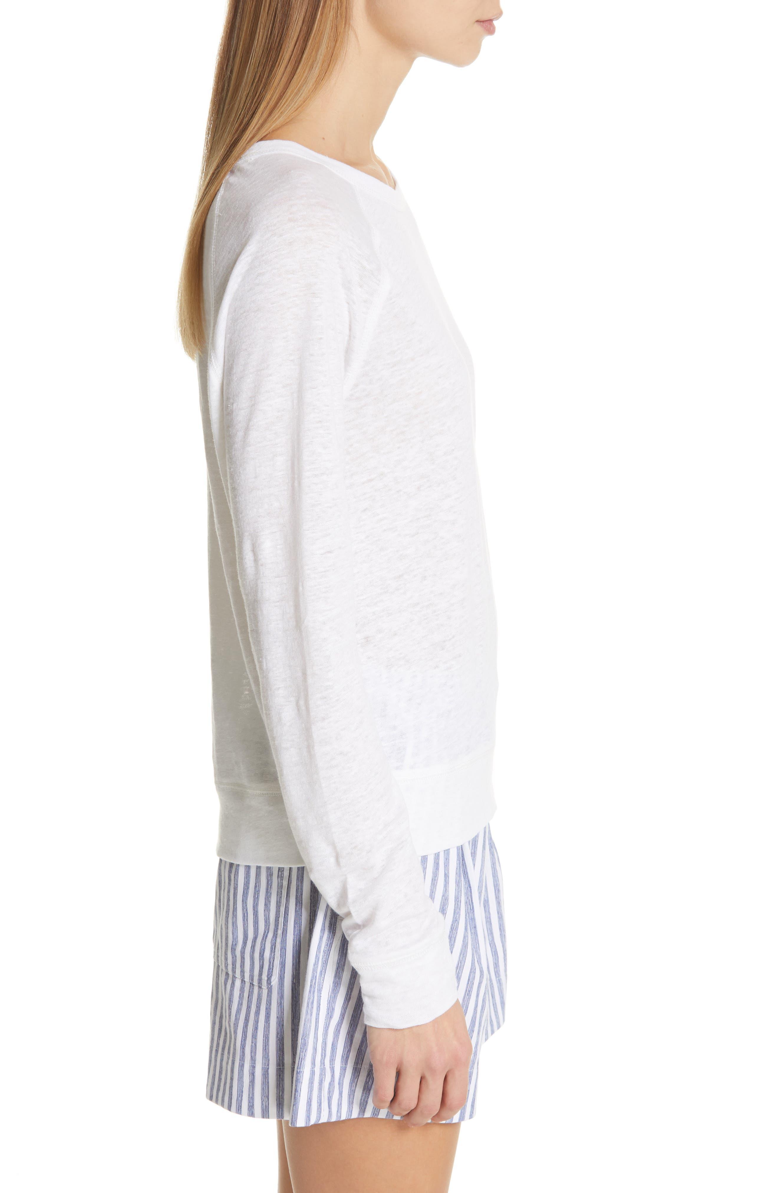 ,                             Long Sleeve Crewneck Linen Top,                             Alternate thumbnail 3, color,                             OPTIC WHITE